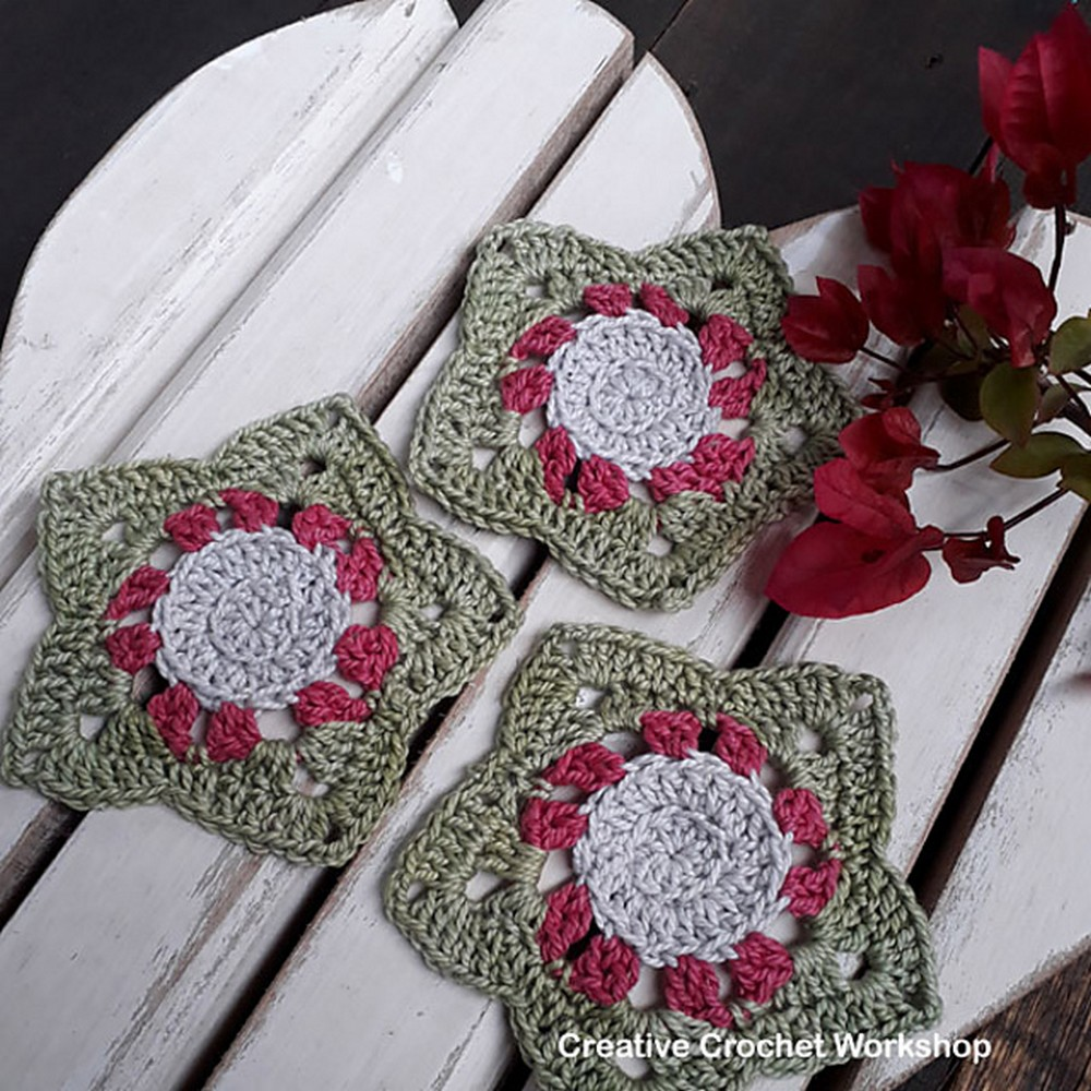 Free Crochet Wish Star Coasters Pattern