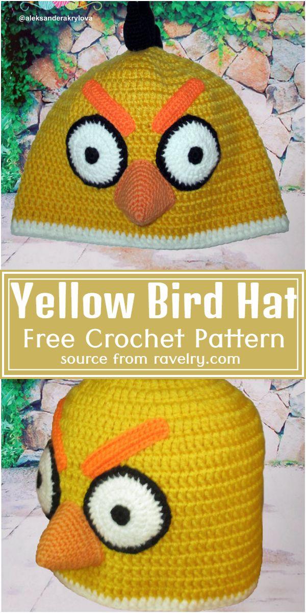 Free Crochet Yellow Bird Hat Pattern