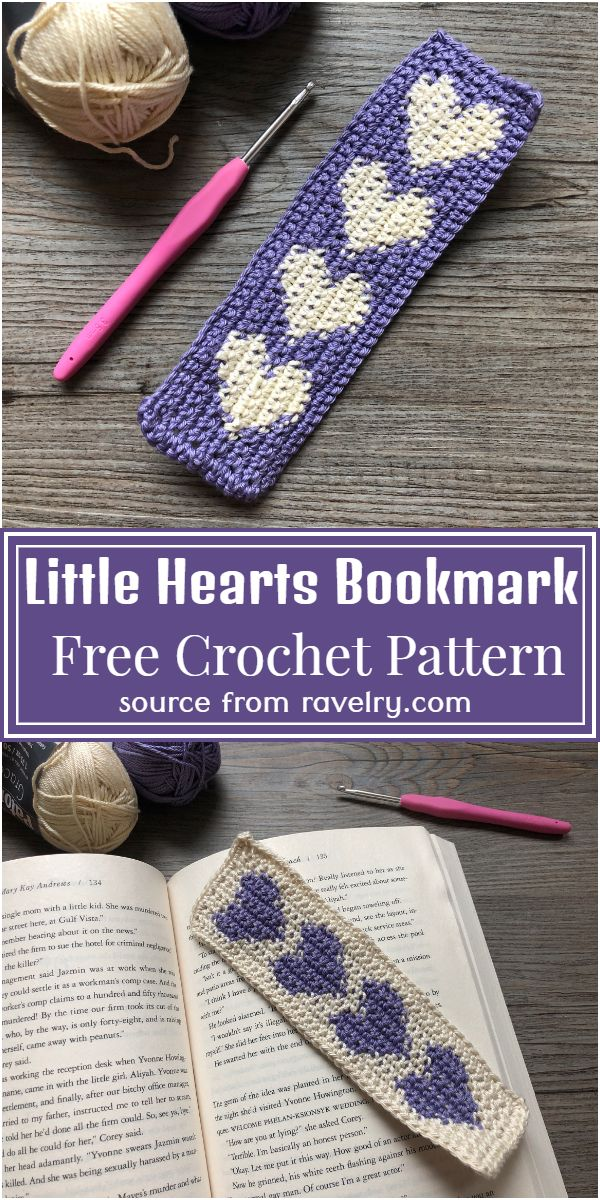 Little Hearts Crochet Bookmark Pattern