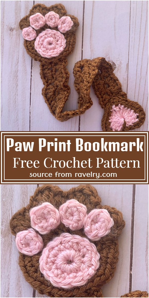 Paw Print Crochet Bookmark Pattern