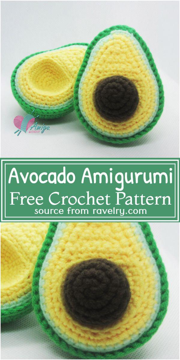 Avocado Amigurumi Crochet Pattern