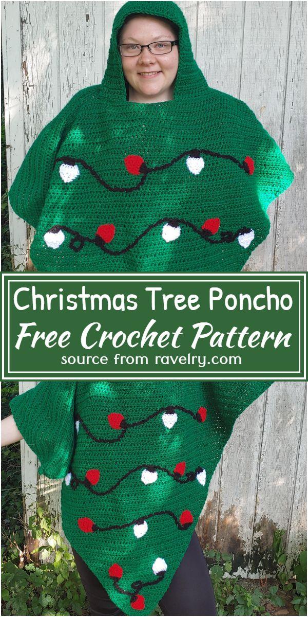 Christmas Tree Poncho Crochet Pattern