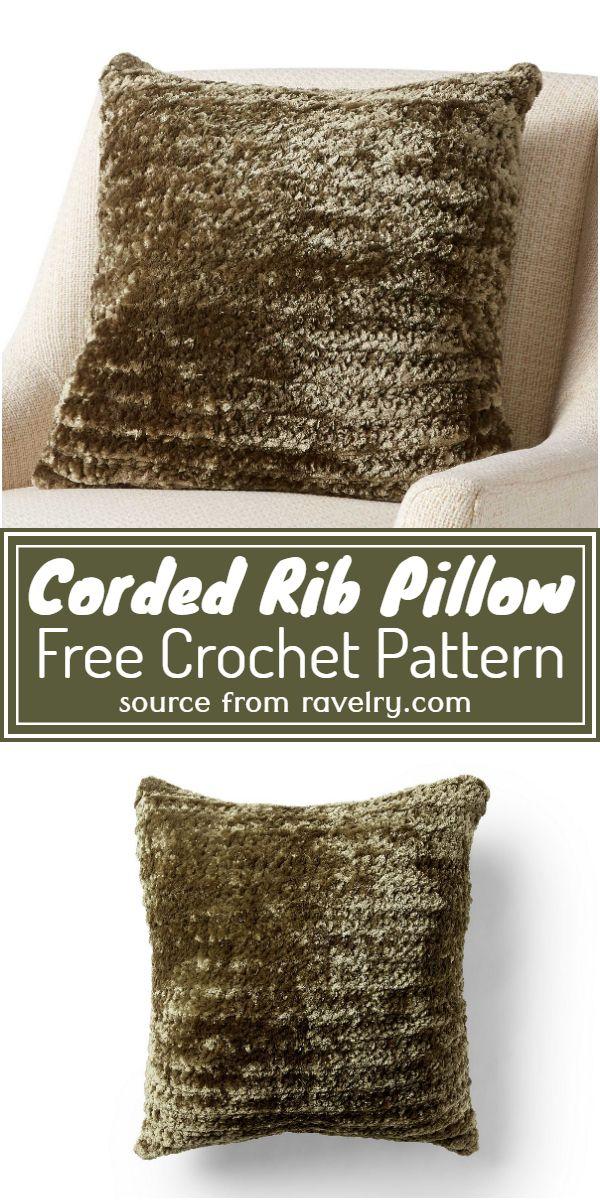 Corded Rib Pillow Crochet Pattern