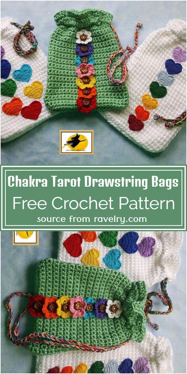 Crochet Chakra Tarot Drawstring Bags Free Pattern