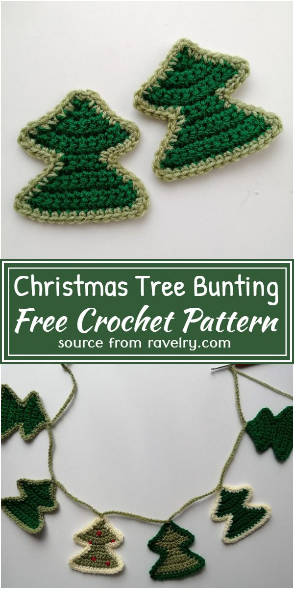 Crochet Christmas Tree Bunting Free Pattern