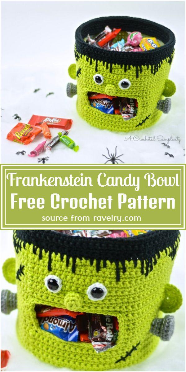 Crochet Frankenstein Candy Bowl Free Pattern