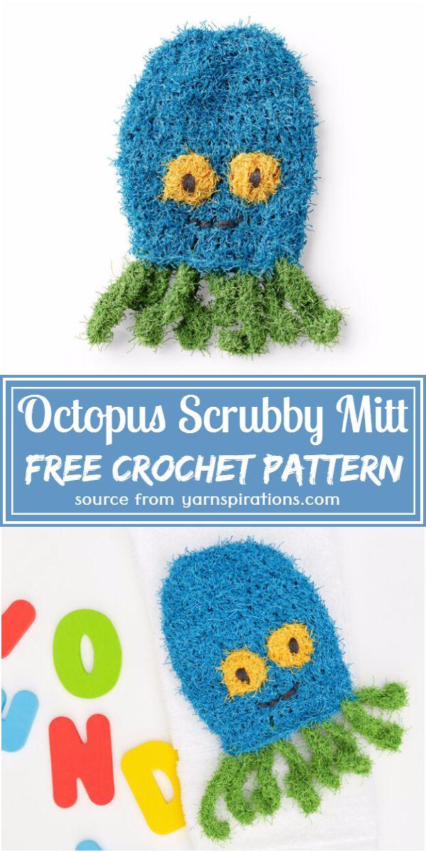 Crochet Octopus Scrubby Mitt Free Pattern