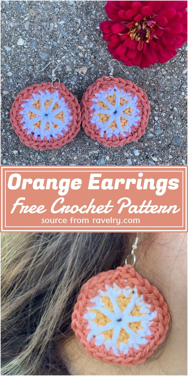 Crochet Orange Earrings Free Pattern