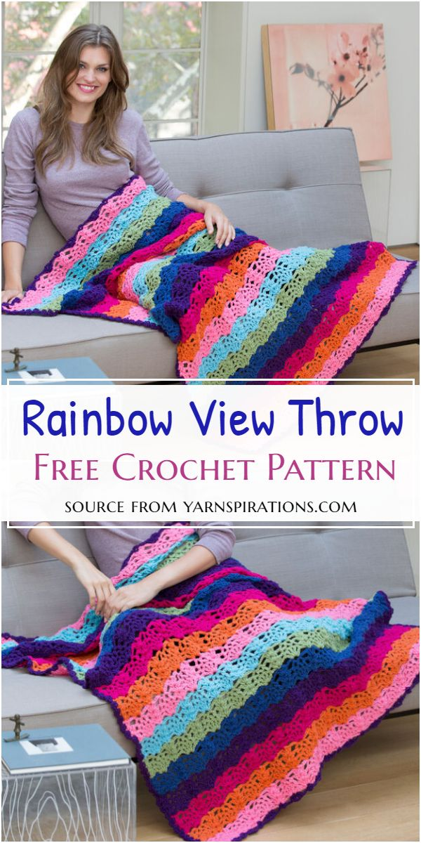 Crochet Rainbow View Throw Free Pattern