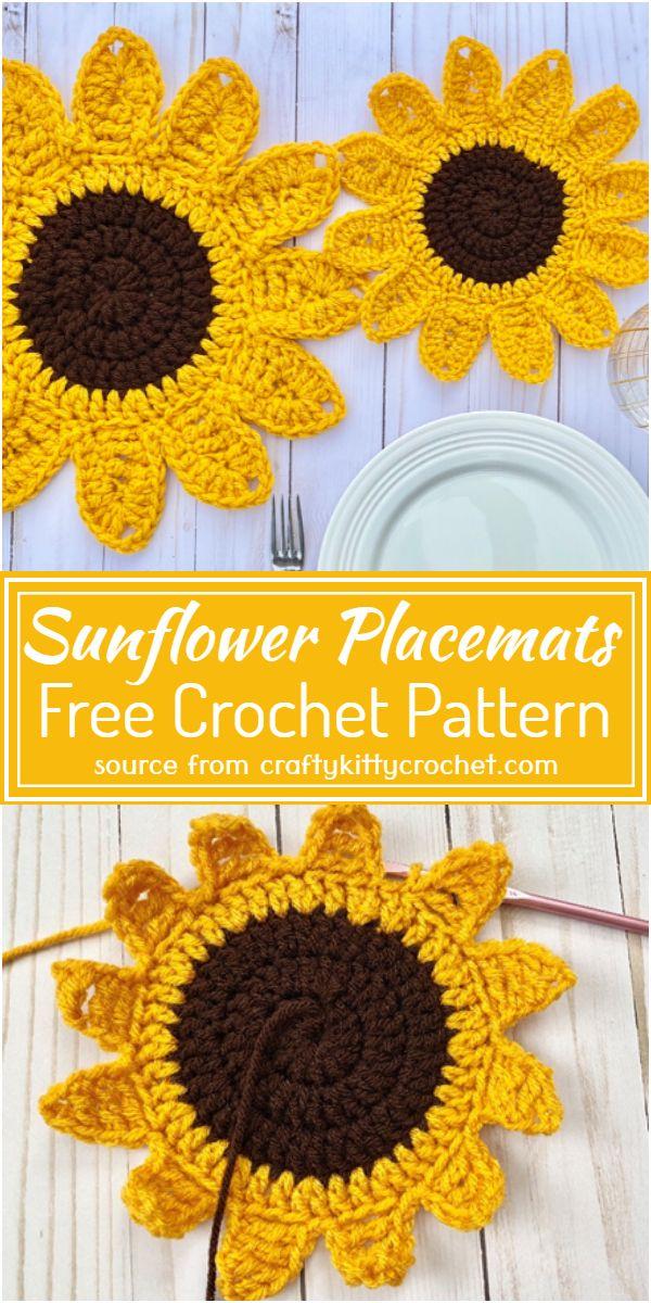Crochet Sunflower Placemats Free Pattern