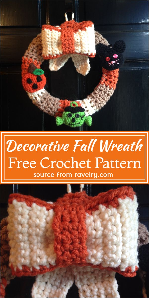 Decorative Fall Crochet Wreath Free Pattern