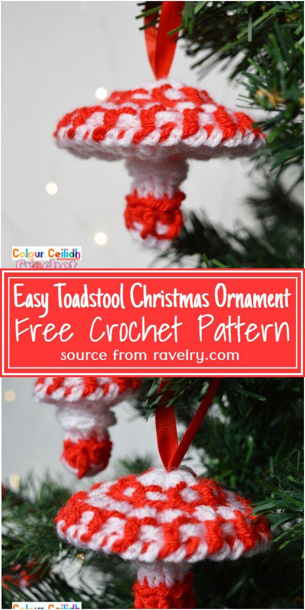 Easy Toadstool Christmas Ornament Crochet Pattern