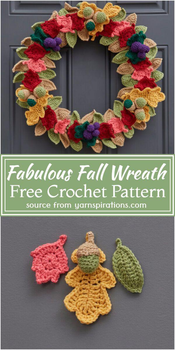Fabulous Fall Crochet Wreath Free Pattern
