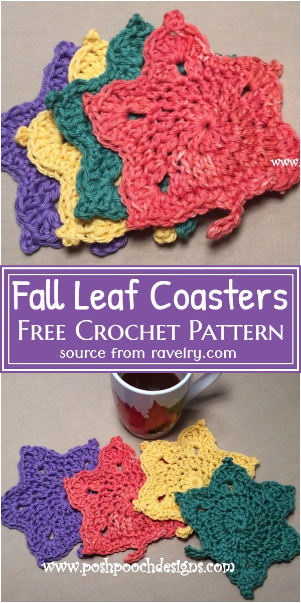 Fall Leaf Coasters Crochet Pattern