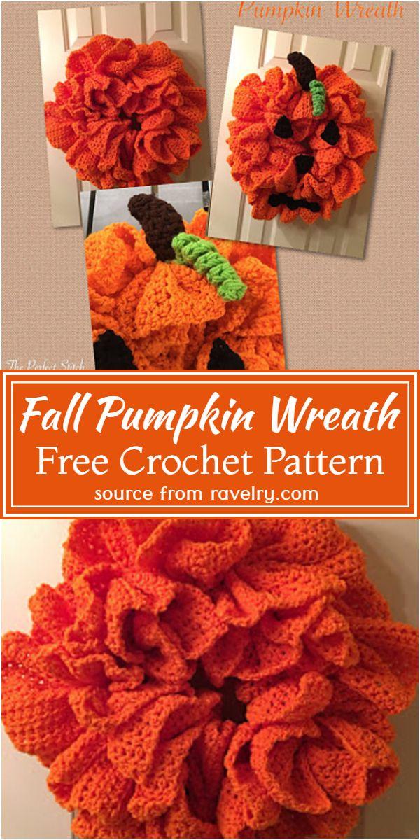 Fall Pumpkin Crochet Wreath Free Pattern