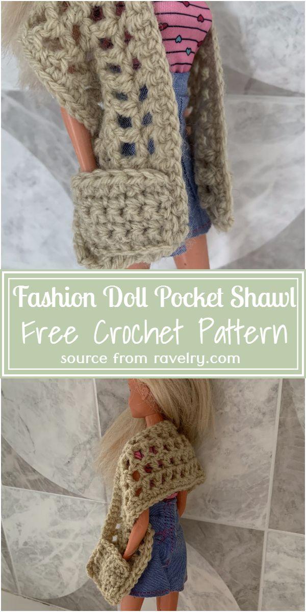 Fashion Doll Crochet Pocket Shawl Pattern