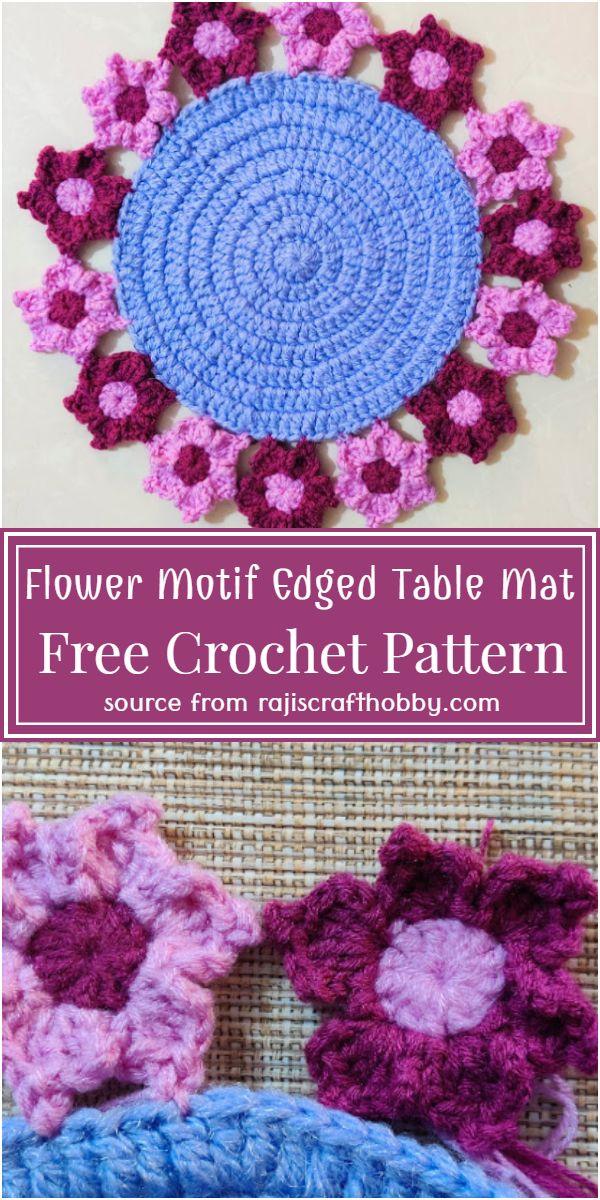 Flower Motif Edged Table Mat Crochet Pattern