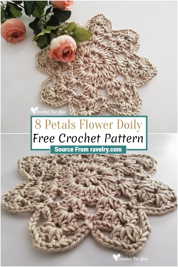Free Crochet 8 Petals Flower Doily