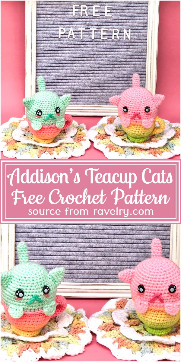 Free Crochet Addison's Teacup Cats Pattern