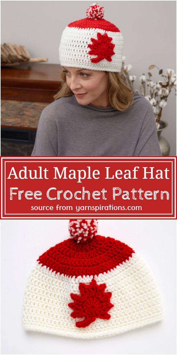 Free Crochet Adult Maple Leaf Hat Pattern