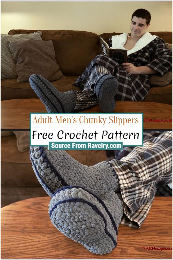 Free Crochet Adult Men's Chunky Slippers