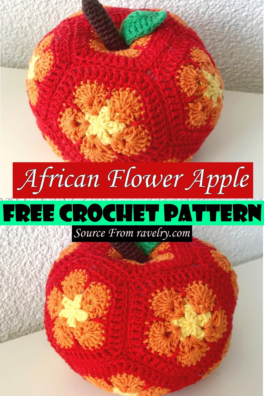 Free Crochet African Flower Apple Pattern