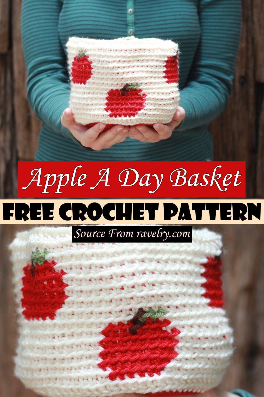 Free Crochet Apple A Day Basket Pattern