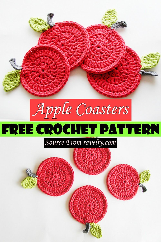 Free Crochet Apple Coasters Pattern