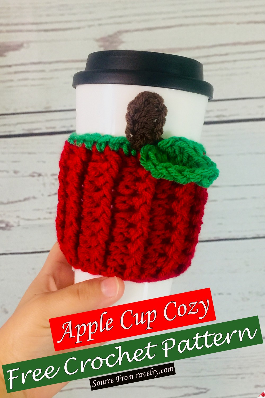 Free Crochet Apple Cup Cozy Pattern