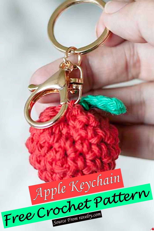 Free Crochet Apple Keychain Pattern