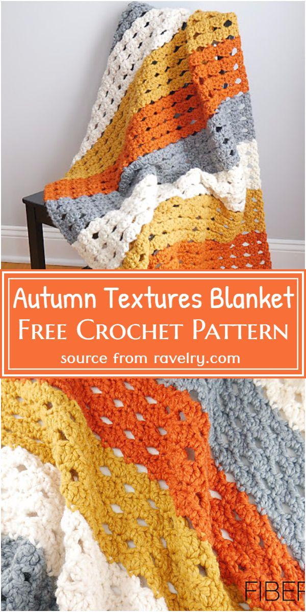 Free Crochet Autumn Textures Blanket Pattern