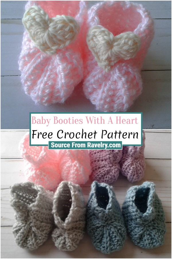Free Crochet Baby Booties With A Heart