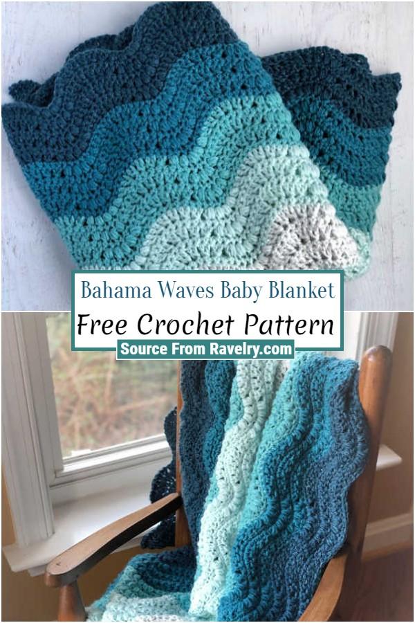 Free Crochet Bahama Waves Baby Blanket