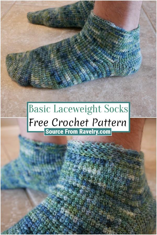 Free Crochet Basic Laceweight Socks