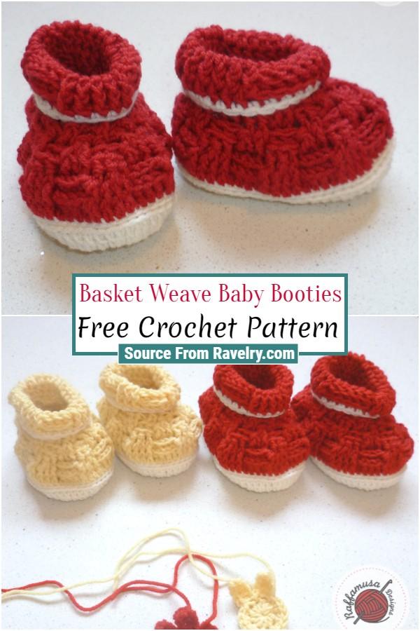 Free Crochet Basket Weave Baby Booties