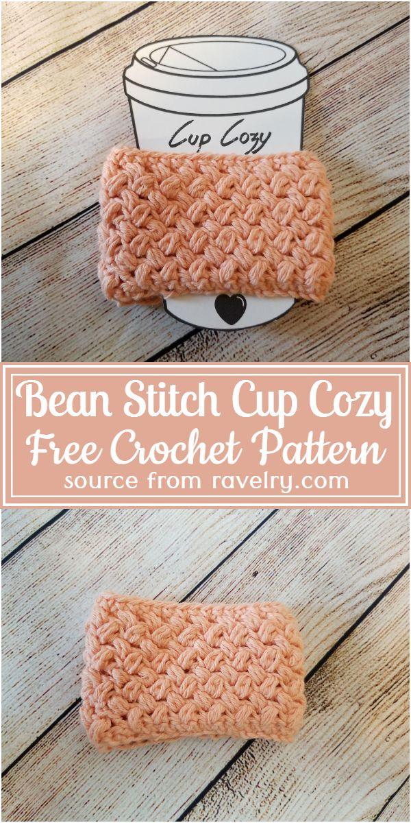 Free Crochet Bean Stitch Cup Cozy Pattern