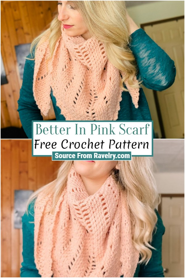 Free Crochet Better In Pink Scarf