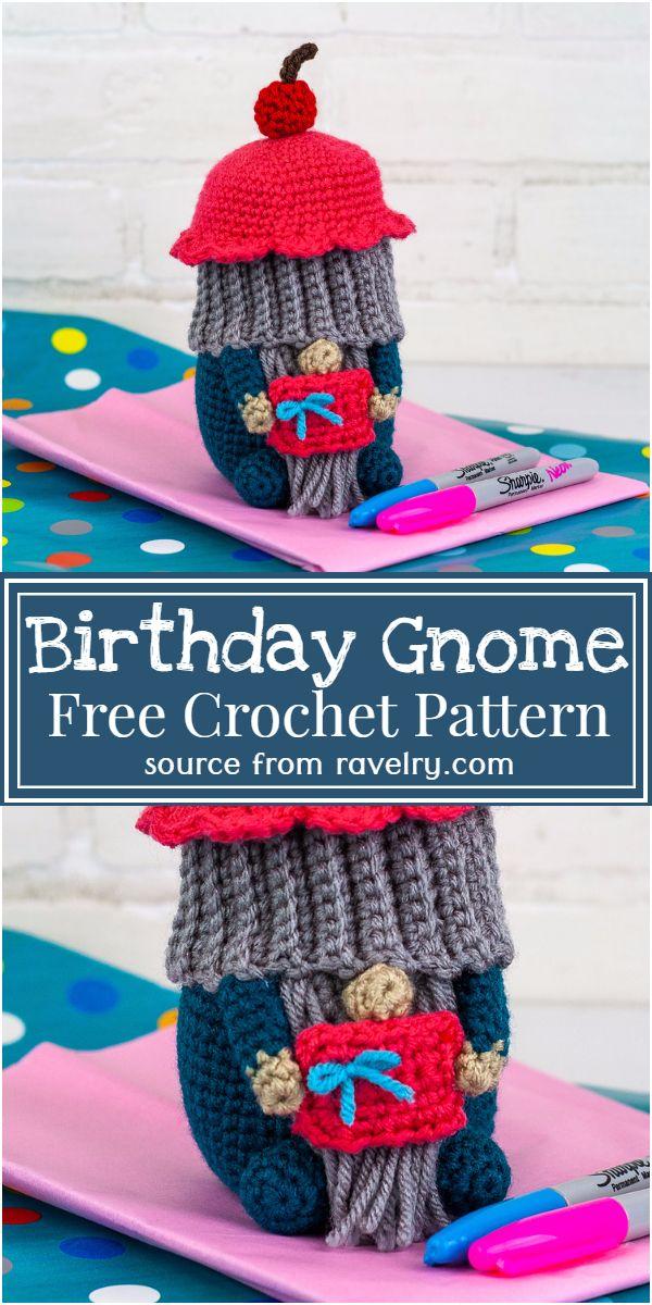 Free Crochet Birthday Gnome Pattern