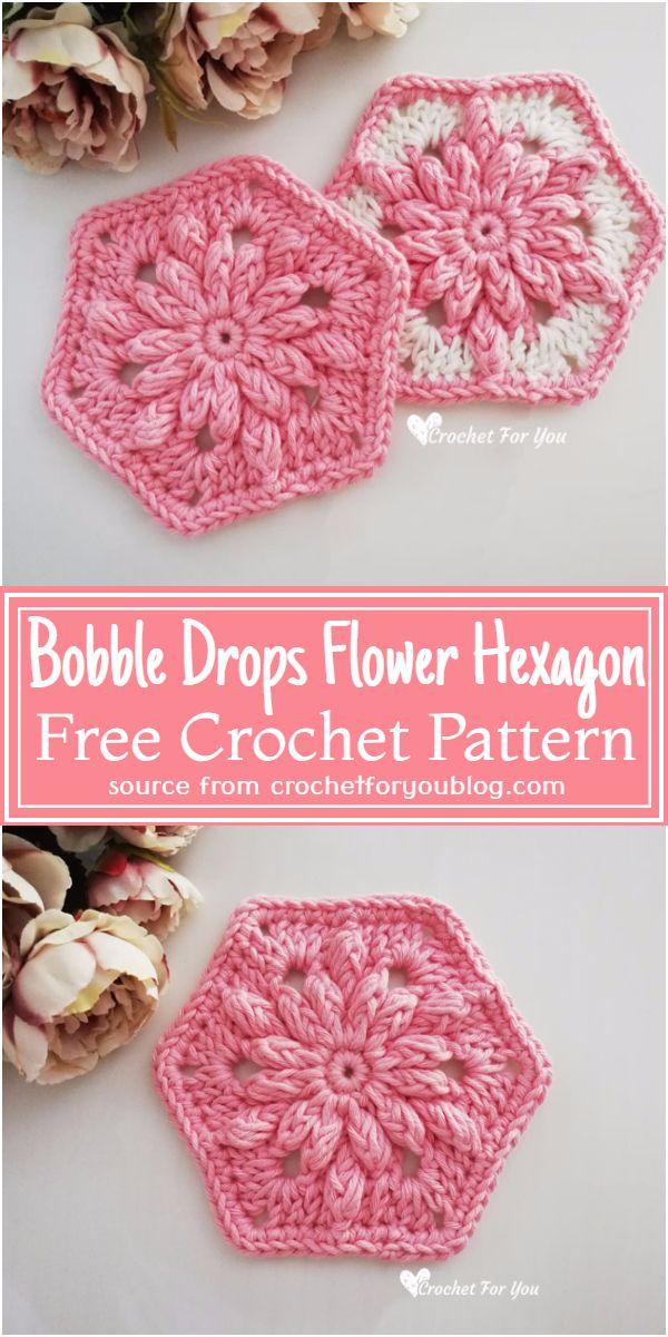 Free Crochet Bobble Drops Flower Hexagon Pattern
