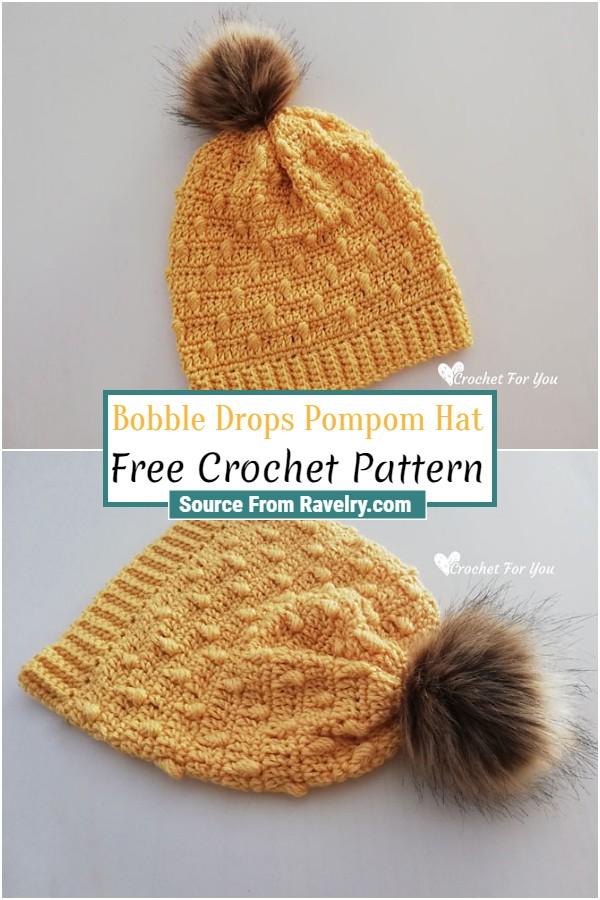 Free Crochet Bobble Drops Pompom Hat