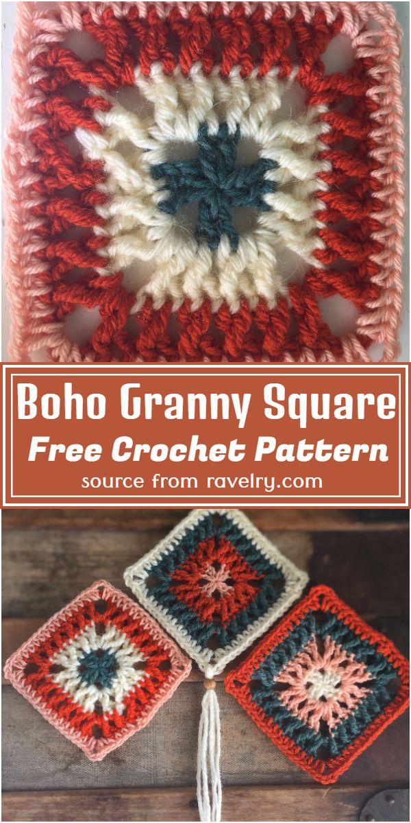 Free Crochet Boho Granny Square Pattern