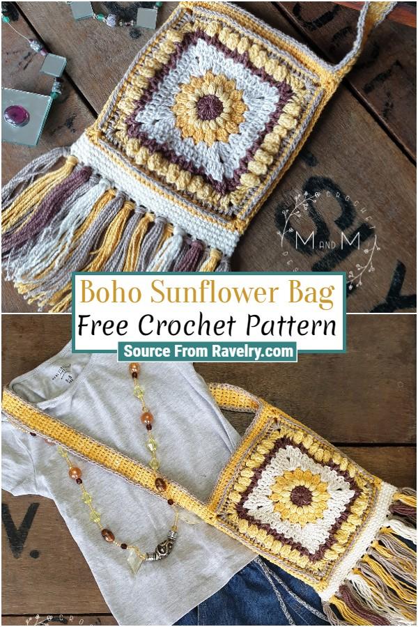 Free Crochet Boho Sunflower Bag