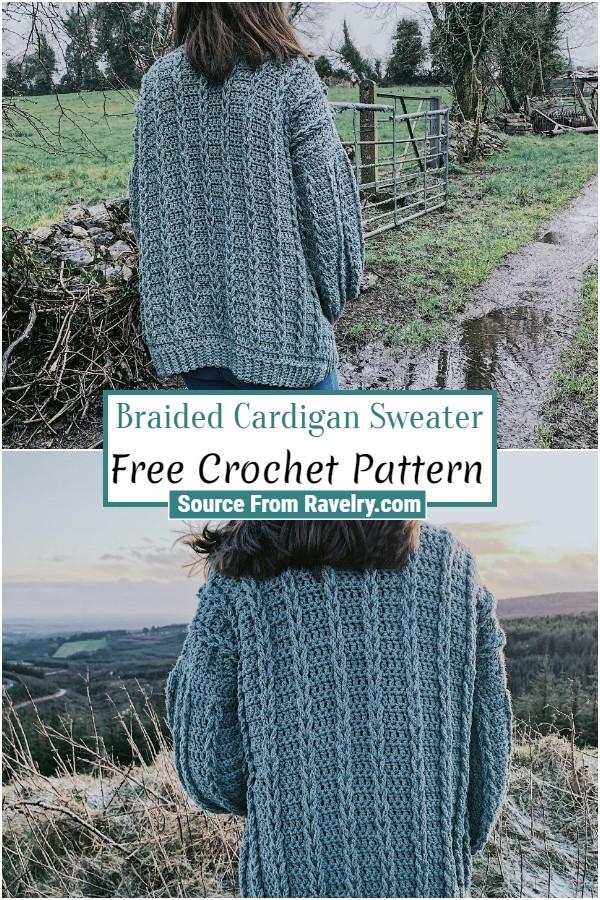 Free Crochet Braided Cardigan Sweater