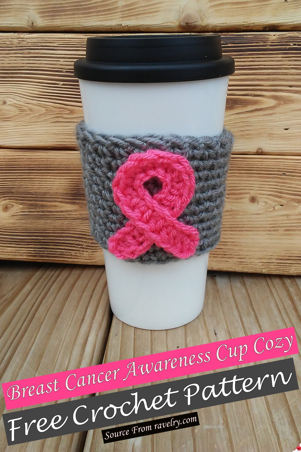 Free Crochet Breast Cancer Awareness Cup Cozy Pattern