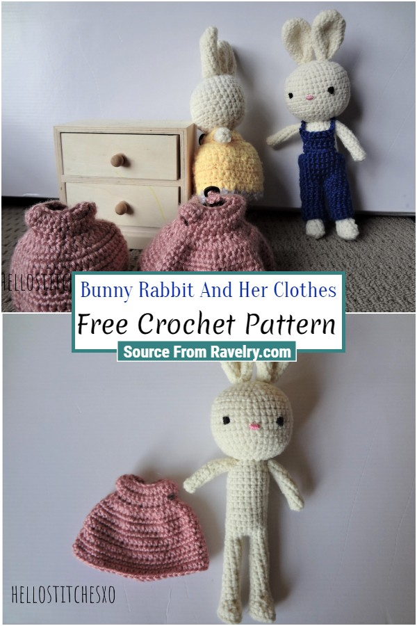 Free Crochet Bunny Rabbit And Her Clothes