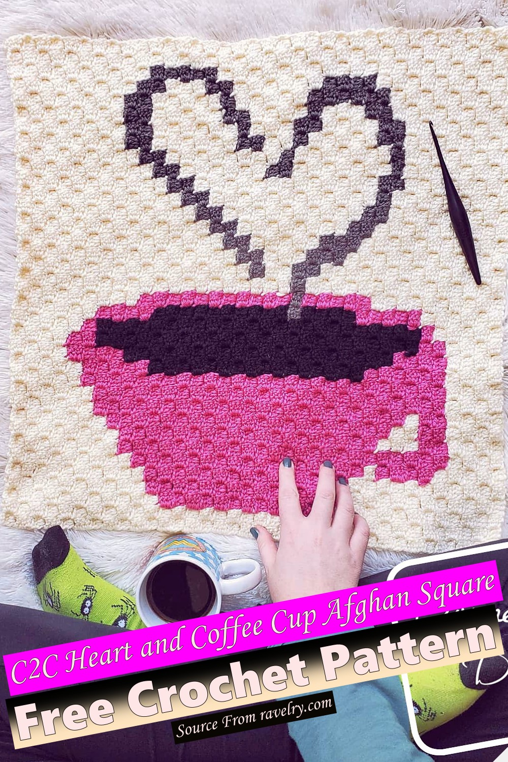 Free Crochet C2C Heart and Coffee Cup Afghan Square Pattern