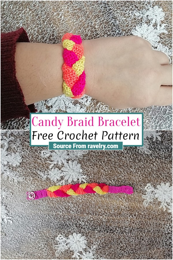 Free Crochet Candy Braid Bracelet 1