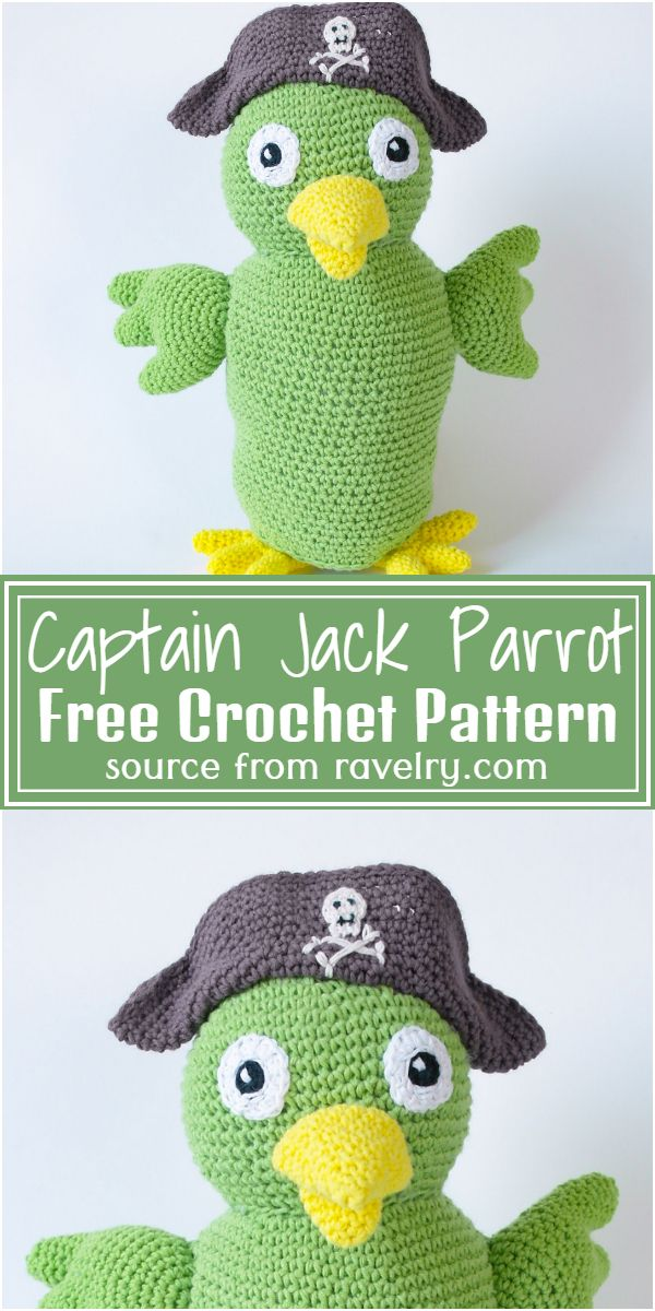 Free Crochet Captain Jack Parrot Pattern