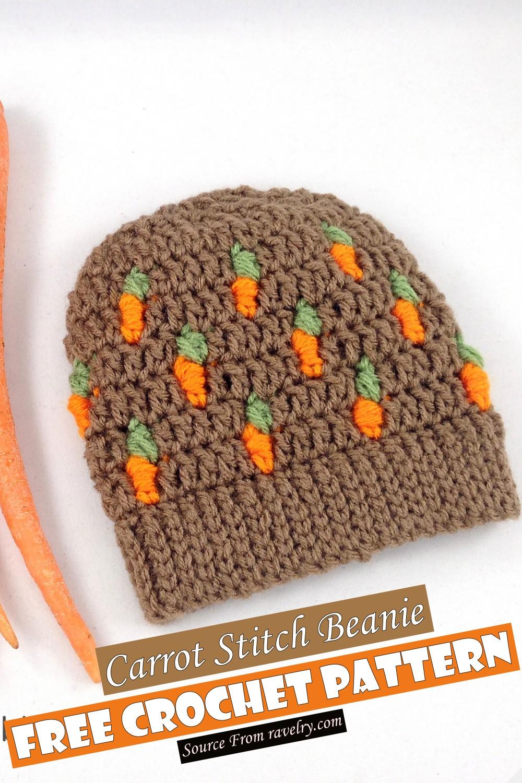 Free Crochet Carrot Stitch Beanie Pattern