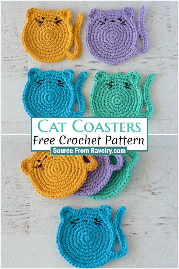 Free Crochet Cat Coasters